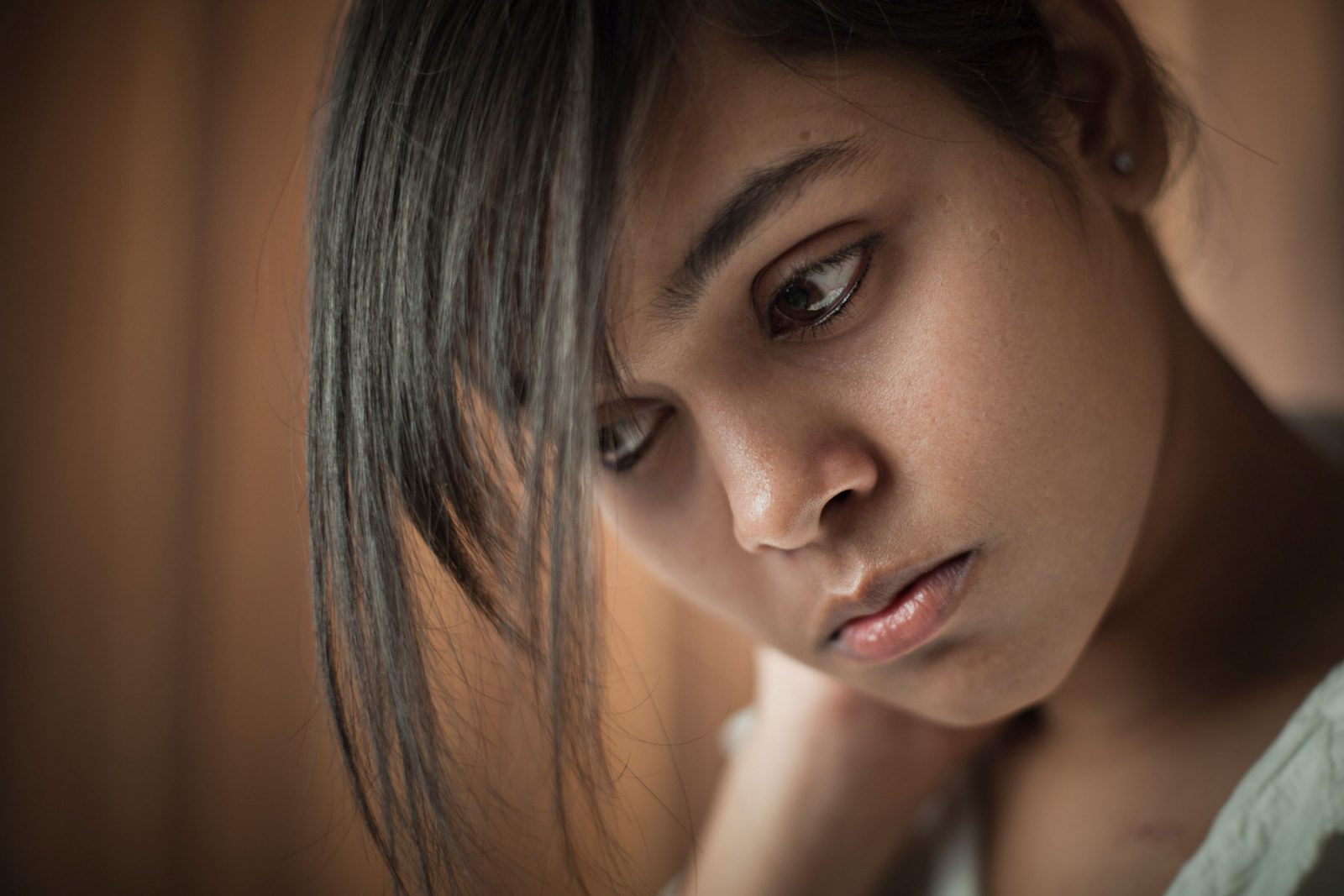 Anxious looking woman